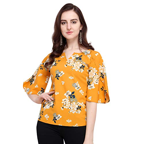 J B Fashion Women's Plain Regular fit Top (Fmania-top-179-S_Yellow_Small)