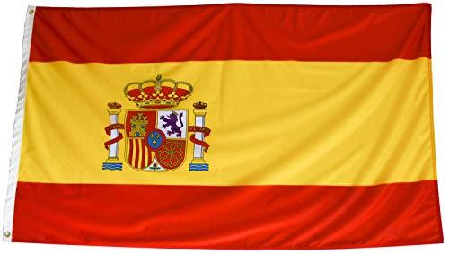 Bandera de España Grande Exterior Alta Calidad 150 x 90 Centímetros, 2 Unidades, Colores Vivos, Poliéster 110 Gramos/m2, Repelente Al Agua, Resistente A La Intemperie