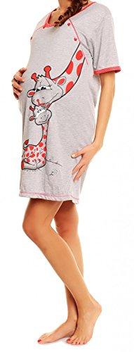 Happy Mama Femme Maternité chemise de nuit. Vêtements de grossesse de nuit. 366p Rouge