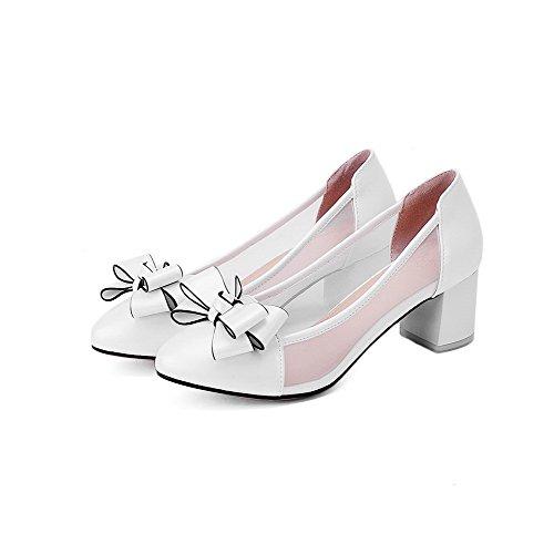 VogueZone009 Damen Rund Zehe Ziehen Auf Pu Leder Rein Mittler Absatz Pumps Schuhe Weiß