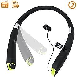 TOUGHSTY Plegables Deportivos Auriculares Bluetooth Audifonos de Cuello Manos Libres con Musica Reproductor MP3 FM Radio Incorporada Retractiles