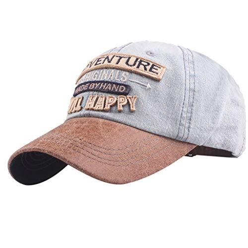 Unisex Herren Damen Baseball Cap  Stickerei Cowboy vielseitige Atmungsaktiv Mode Vintage Caps sommer strand Hut Einzigartiges Design Flat Top Dad Cap Kappe Sonnenhut Einstellbar (Himmelblau)
