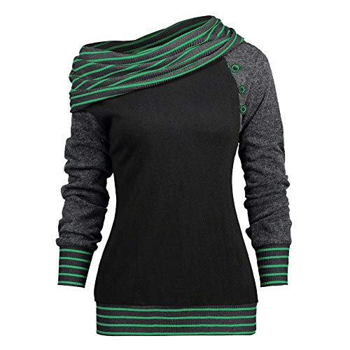 Knopf-crewneck Pullover (Damen Kapuzenpullover Lange Ärmel Hoodie Pullover Ronamick Mode Frauen neigen Hals Langarm gestreift Patchwork Knopf Sweatshirt Top(XL, Mint Grün))
