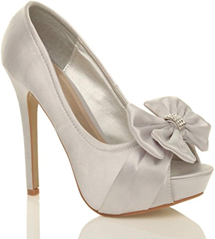 4efe0f301a27 Ajvani Womens ladies wedding court evening Parent bridal high heel platform  30217 prom diamante court shoes size B00KY4IOGY Parent d80b21b