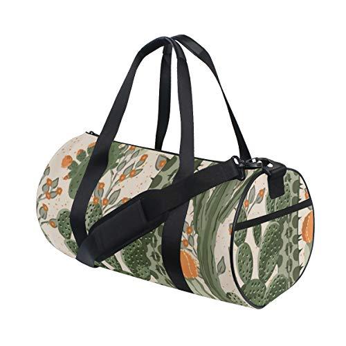 PONIKUCY Sporttasche Reisetasche,Aquarell Muster grüne saftige Kaktus Orangen Blumen Natur mexikanische Wüsten Birnen stacheliges mit Blumen,Schultergurt Handgepäck für Übernachtung Reisen -