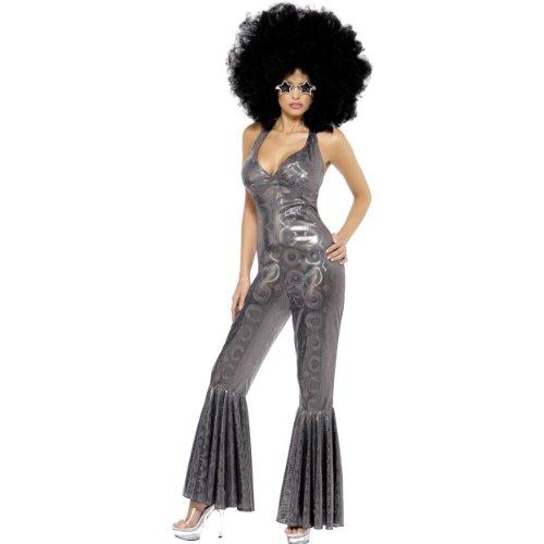 Smiffys Karneval Damen Kostüm sexy Diva 70er Jahre silber Catsuit Größe S