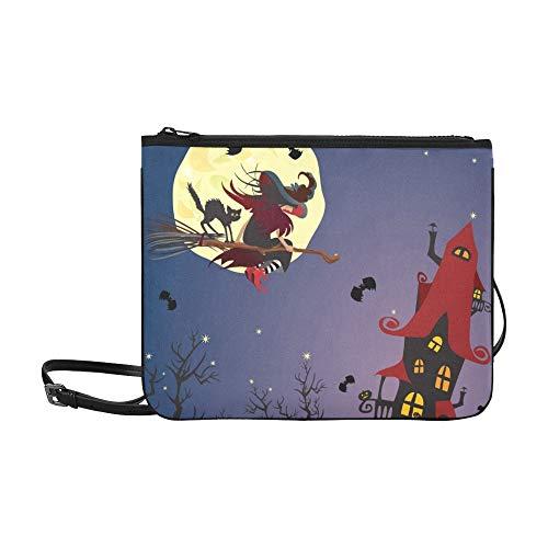 WYYWCY Halloween-Nachthexe schwarze Katze, die kundenspezifische hochwertige Nylon-dünne Handtasche Cross-Body Bag Umhängetasche fliegt