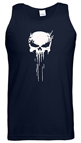 Punisher Skull Logo Weste Tank Top Frank Castle Spiel Tiefe Marine / Weiß Design