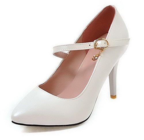 VogueZone009 Femme Boucle à Talon Haut PU Cuir Couleur Unie Pointu Chaussures Légeres Blanc