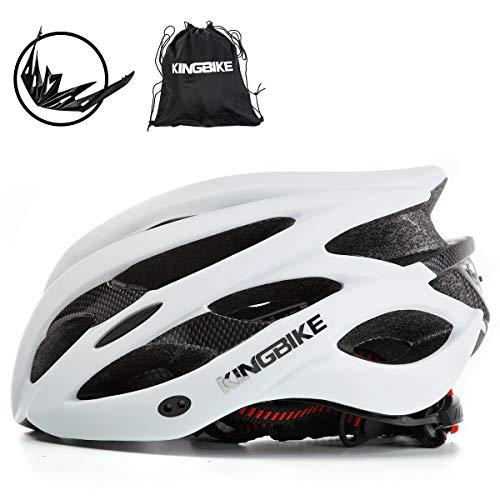 KING BIKE Fahrradhelm Helm Bike Fahrrad Radhelm FüR Herren Damen Helmet Auf Die Helme Sportartikel Fahrradhelme GmbH RennräDer Mountain Schale Mountainbike MTB (Weiß, XL(59-63CM))