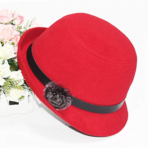 Lzling Weiblicher Hut Hut Casual Joker Trend Einfache Herbst Reise England Elegant Schwarz Curling Zylinder, Rot