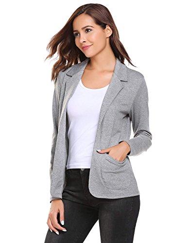 Damen Blazer Cardigan Kurzjacke Lange Arm tailliert mit Taschen, Grau - L