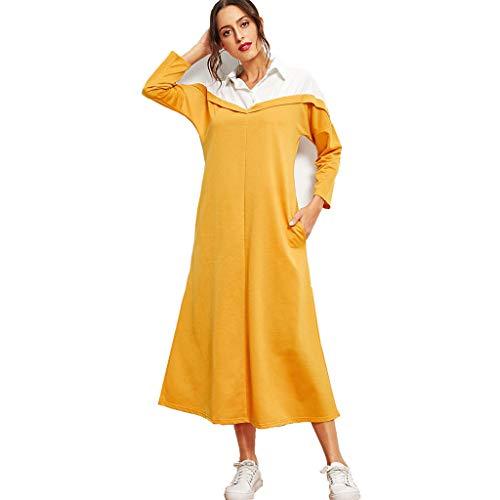 YCQUE Muslimische Frauen Langes Kleid, Dame Umlegekragen Lose Strand Einfache Vintage Nähte Farbe Robe Revers Langarm Kleid Lässig Nahen Osten Muslim Colorblock