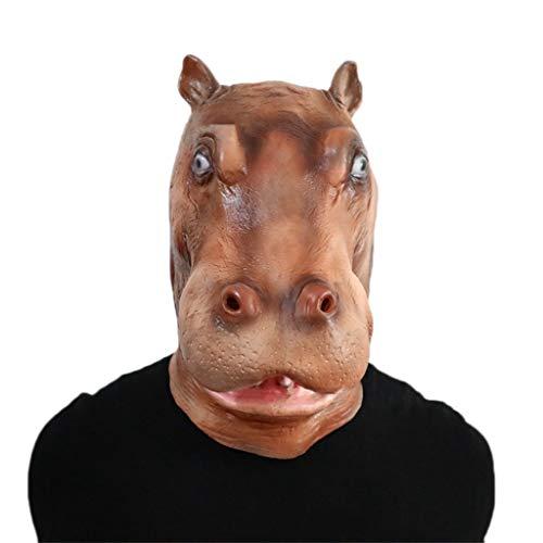 GXDHOME Halloween Latex Kopf Masken, Kostüm Hippo Pferd Monste Grimasse Spukhaus Horror Zombie Lustige Scary Creepy Ghost Kostüm (Halloween-kostüme Baby Hippo)