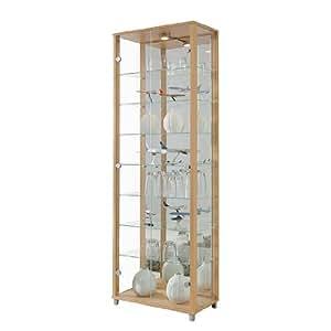 Double Door Glass Display Cabinet, Mirror Back, 4 Shelves