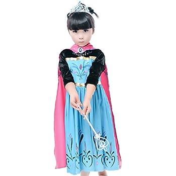 dbde6cb9850b Inception Pro Infinite Taglia 110 - 3 - 4 Anni - Costume - Carnevale -  Halloween - Elsa - Bambina - con Maniche in Velluto Nero e Mantello - Frozen