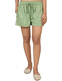 9teenAGAIN Women's Hosiery Solid Shorts (Green)