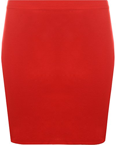WearAll - Damen Bodycon Elastisch Micro Mini Skirt Gummizug Kurze - Rot - 36-38