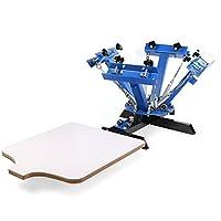 MosaicAL Silk Screen Printing Kit Silk Screen Press Printer 4 Color 1 Station Silk Screen Printing Machine Printer Wood Printing Press DIY (4 Color 1 Station)