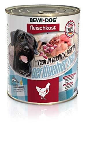 BEWI DOG Fleischkost reich an Geflügelherzen [800 g] Dose | Nassfutter für Hunde | getreidefrei | Muskelfleisch & Innereien mit fester Fleischstruktur | 6 x 800 g
