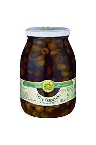 Oliven Mischung, grüne & schwarze Taggiasca-Oliven, ohne Kern, in Öl, Venturino, 950g