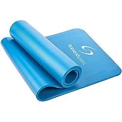 Estera de ejercicio con correa de transporte–183x 61cm (12mm de grosor) acolchado de espuma de NBR–Esterilla para yoga, pilates y fitness, azul claro