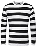T-Shirt Uomo Manica Lunga Colletto Tondo Casual alla Moda Taglia S Nero Spesso