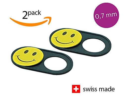 JETZT NOCH DÜNNER! Soomz Webcam Abdeckung aus Metall   Hochwertig und dauerhaft   Swiss Made   Privacy-Schutz für Kamera   PC   Laptop   Handyzubehör   2er Set Smiley