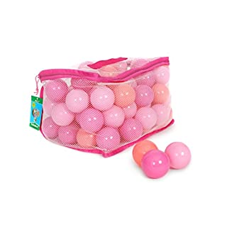 AAJ 100 Multi Coloured Play Balls - Pink (in Mesh Carry Bag with Handle)
