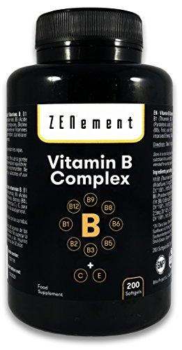 Complesso di vitamina B con Vitamine C ed E, 200 Capsule Sofgel | Per migliorare l'energia, l'umore e la salute generale | Senza Glutine | di Zenement
