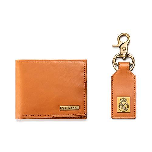 Real Madrid - Handgefertigte Ring- und Lederbörse mit hochwertigem Leder. Set aus 2 Stück. Farbe hellbraun RMJ-80012T - Komplette Sammlung Herr Ringe Der