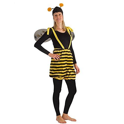 Unisex Kostüm Honigbiene Hose Mütze Biene Tierkostüm Fasching Garten (S/M)