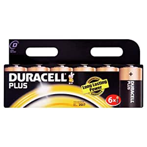 Duracell Plus MN1300 Alkaline D Batteries - 6-Pack