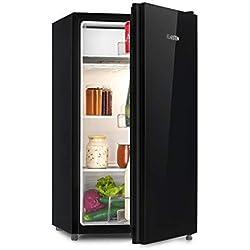 Klarstein Luminance Frost Réfrigérateur - 91 L, Classe d'efficacité énergétique A+, Bac à légumes, 2 tablettes en verre, 3 compartiments de porte, Réglage de température à 7 niveaux, noir