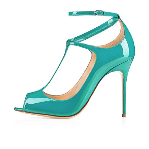 EDEFS Femmes Escarpins Talon Haut Bride Cheville Chaussures High Heel Bout Ouvert Skyblue