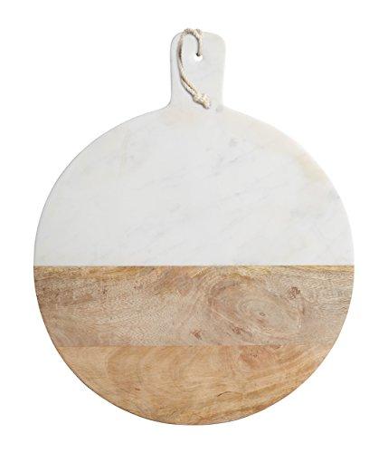 Braun Marmor-glas (Kitchen Craft Rundes Master Class Servier-Brett Marmor, Holz, Weiß/braun, 48 x 9 x 56 cm)