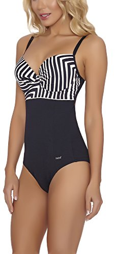 Feba Damen Push-Up Badeanzug SC1RL2T figurformend (Schwarz/Cream, Cup 85 C / 42)