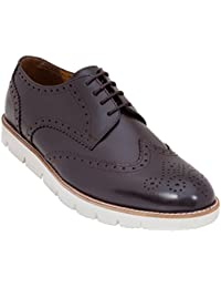Handmade Semi Formal Brogue Shoe In Real Calf Leather (Lace Ups) For Men In Brown Colour