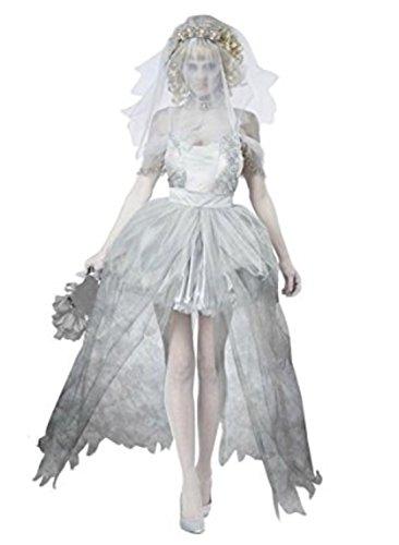 WLITTLE Halloween Kostüm Damen Damen Zombie Braut Kostüm Für Halloween Karneval Fasching - Ein Zombie Braut Kostüm