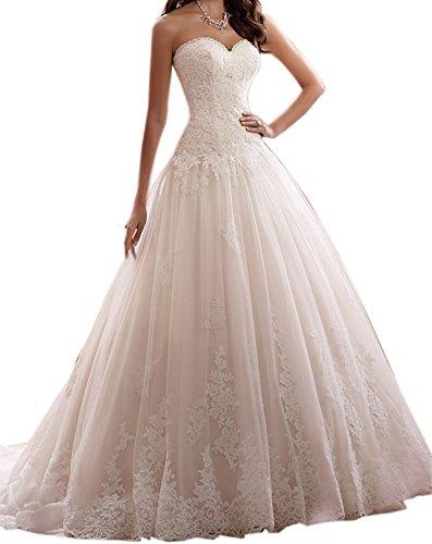 BetterGirl Damen Kleider Abendkleider Elegant Hochzeitskleider Damen Spitzen Brautkleider...