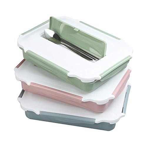 NEWGA Reusable Lunch -Boxen, auslaufsicher Lunchbox, Insulated Lunchbox, 304 Edelstahl Student Lunchbox 1 Schicht Fach mit Abdeckung Multi-Frame Erwachsenen @Green_Double Schicht,