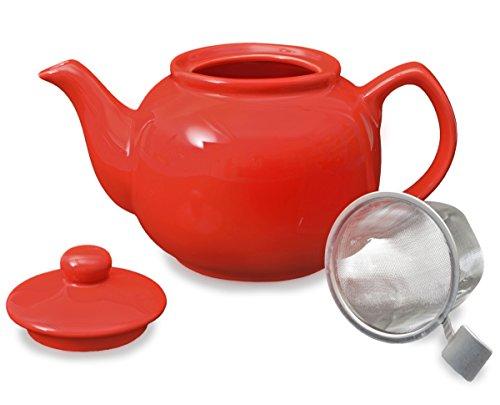 Teeservice / Teeset 3-teilig Malika in rot mit Edelstahlsieb 1,2l - 5
