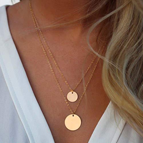 i - Layer - Halskette mit Pailletten Anhänger für Frauen und Mädchen (gold) ()