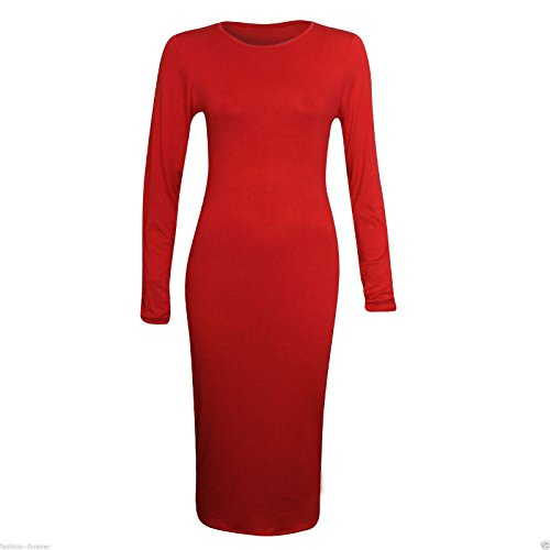 Generic - Robe - Moulante - Manches Longues - Femme multicolore Multicoloured red
