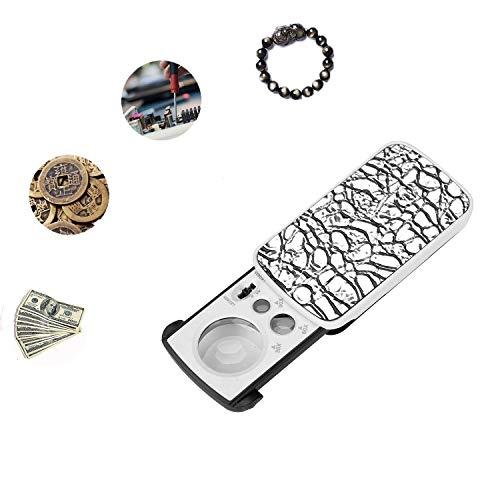 Juwelierlupe, 30 x 60 x 90 x ausziehbar, tragbar, beleuchtete LED-Lupe mit UV-Licht, Multi-Power Lupe für Schmuckbewertung, Diamanten, Lesestempel und Uhren silber