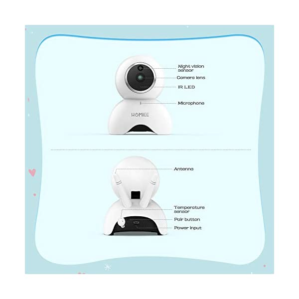 HOMIEE 720P Camera Exclusive for HOMIEE Baby Monitor, Two Way Audio, Night Vision, VOX, Lullaby, Sound & Temperature Alert, 1000ft Connection (Additional Camera) HOMIEE 【Version Compatibility】This additional camera is only compatible with HOMIEE Baby Monitor White (ASIN: B07W8NFSPX). If you don't know how to pair, please contact us, we will send you instructions. 【Night Vision】The baby camera features an invisible IR LED sensor for Infrared Night Vision (range can up to 5 meters) to deliver clear videos in darkness without disturbing the baby. it will alarm when baby is crying and temperature gets too high or too low. 【355 -Degree Omnidirectional Coverage】The camera can be wireless controlled to rotate about 355 degree horizontally, to bow and lie down between 70 degree at most. HOMIEE video baby monitor also supports zoom for closer views on screen. 5