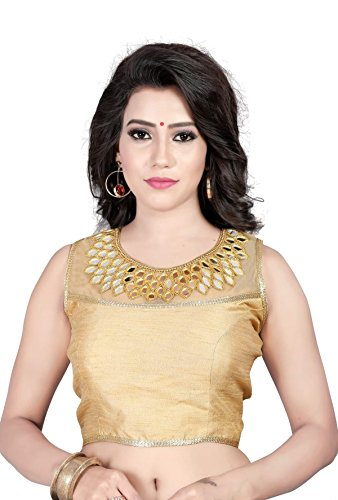 V.K.Creation Women'S Cotton Saree Blouse (103.Golden2_Gold_Free Size)