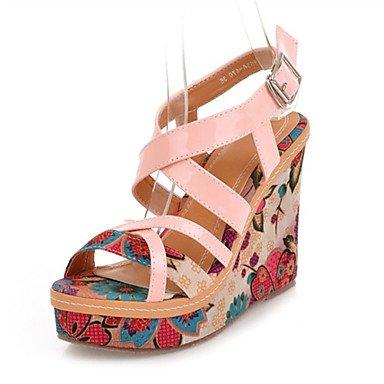 LvYuan Damen-Sandalen-Kleid Lässig Party & Festivität-maßgeschneiderte Werkstoffe Kunstleder-Keilabsatz-Komfort Neuheit-Rosa Beige Pink