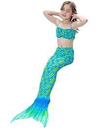 Bikini Traje de Bano Sirena para ninos Mermaid swimsuit Kids 3pcs Disfraz de Sirena Cosplay