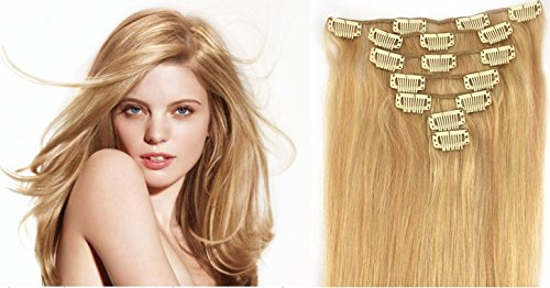 *46 cm*27/613 Mixed Platinum Blonde Clip In Extensions Set 100% Echthaar 7 teilig*70g* Haarverlängerung Clip-In Hair Extension